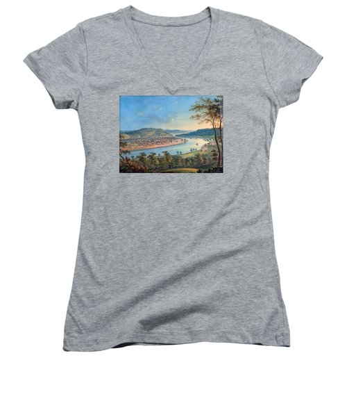 Women's V-Neck T-Shirt (Junior Cut) featuring the painting View Of Cincinnati From Covington by John Caspar Wild