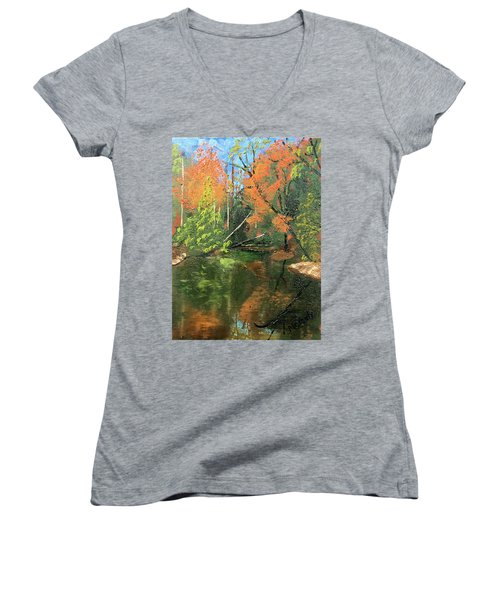 View Of Creek From Lake Huron Women's V-Neck (Athletic Fit)