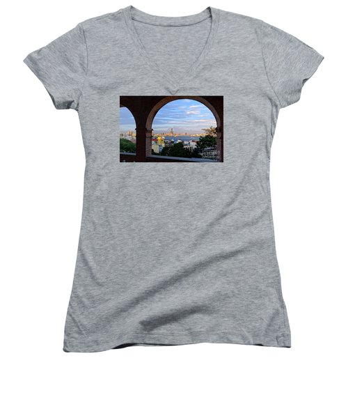 Women's V-Neck T-Shirt (Junior Cut) featuring the photograph View Of Kaohsiung City At Sunset Time by Yali Shi