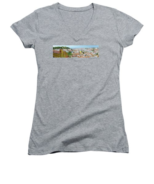 Women's V-Neck T-Shirt (Junior Cut) featuring the photograph View Of Lisbon by Patricia Schaefer