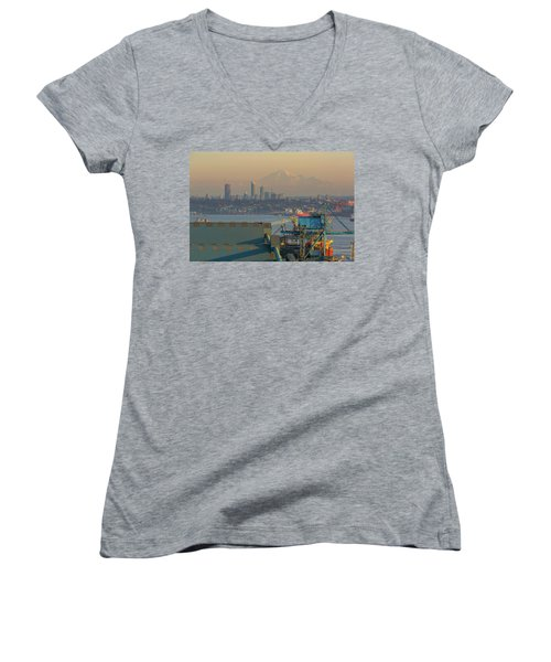 View Of Mount Baker And Vancouver Bc At Sunset Women's V-Neck (Athletic Fit)