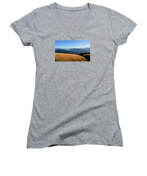 Women's V-Neck T-Shirt (Junior Cut) featuring the photograph View Of Olympics From Hurricane Ridge by Ronda Broatch