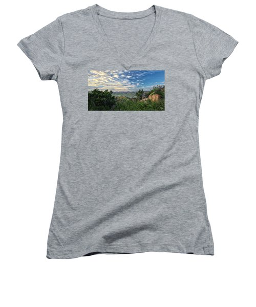 View Of Simi Valley Women's V-Neck T-Shirt (Junior Cut) by Endre Balogh