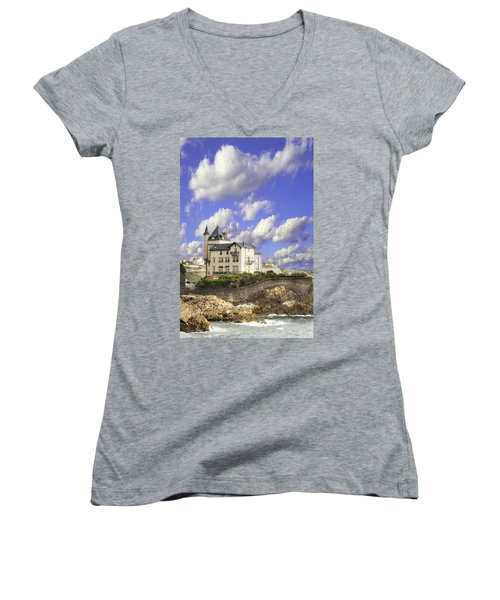View Of The Beautiful Castle On The Bay Of Biscay Of The Atlantic Ocean Women's V-Neck T-Shirt
