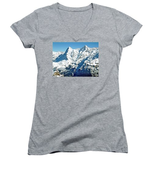 View Of The Eiger From The Piz Gloria Women's V-Neck T-Shirt (Junior Cut) by Joseph Hendrix