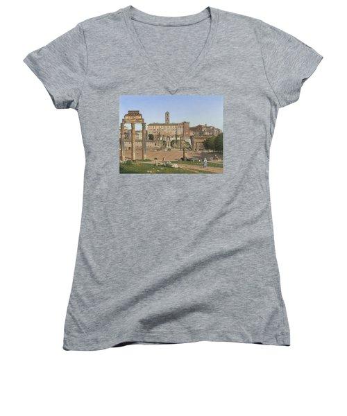 View Of The Forum In Rome Women's V-Neck T-Shirt (Junior Cut) by Christoffer Wilhelm Eckersberg