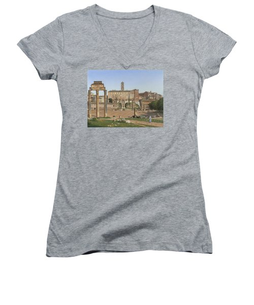 View Of The Forum In Rome Women's V-Neck T-Shirt