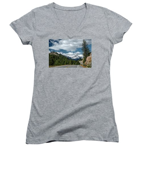 View Of The Pilot Peak From Highway 212 Women's V-Neck