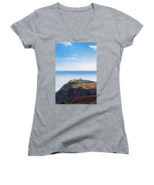 Women's V-Neck T-Shirt (Junior Cut) featuring the photograph View Of The Trails On Howth Cliffs With The Lighthouse In Irelan by Semmick Photo