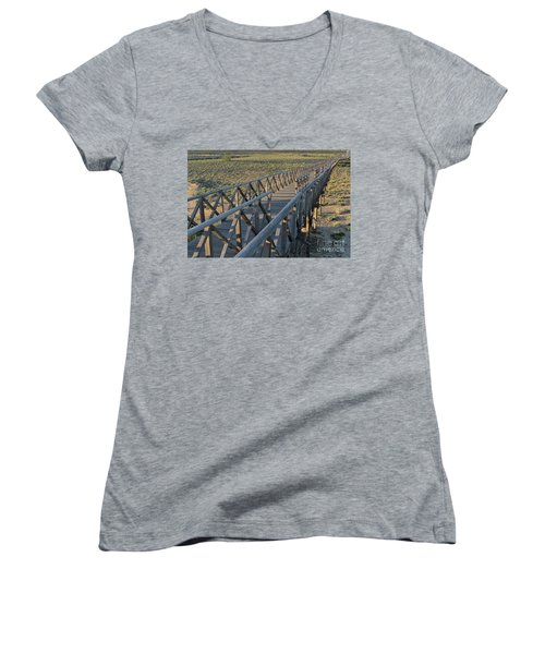 View Of The Wooden Bridge In Quinta Do Lago Women's V-Neck T-Shirt (Junior Cut) by Angelo DeVal