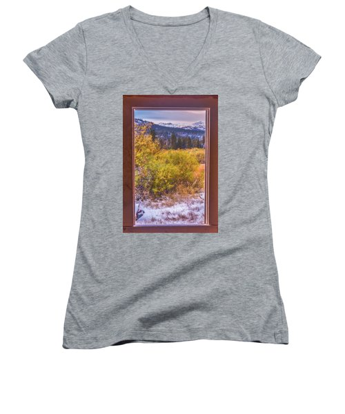 View Out The Frame Of A Broken Window Women's V-Neck T-Shirt (Junior Cut) by Marc Crumpler