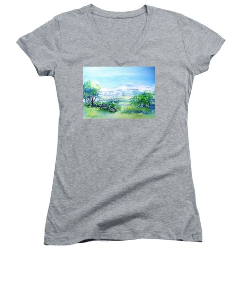 View Through The Gap,wicklow  Women's V-Neck T-Shirt (Junior Cut) by Trudi Doyle