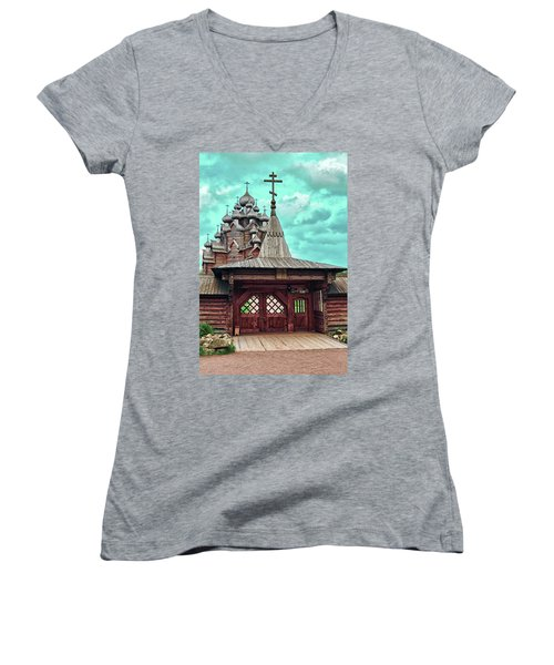 views of Holy gates and Church of the Intercession of the blessed virgin Mary Women's V-Neck T-Shirt