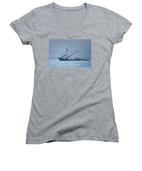 Women's V-Neck T-Shirt (Junior Cut) featuring the photograph Viking Fisher 3 by Randy Hall