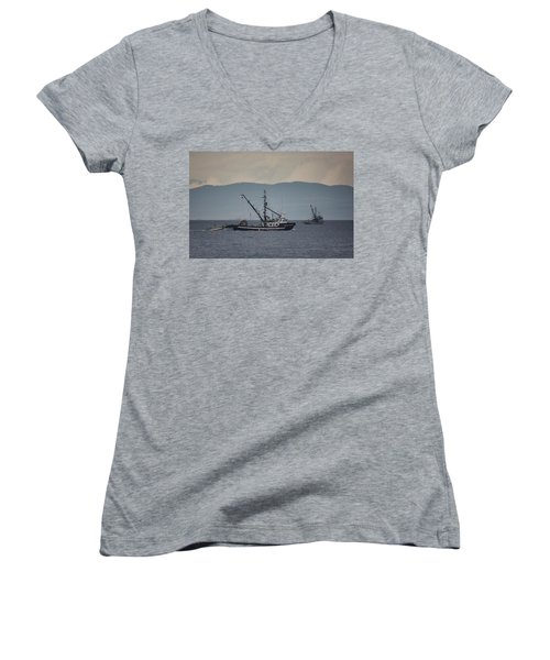 Viking Sunrise Women's V-Neck T-Shirt (Junior Cut) by Randy Hall