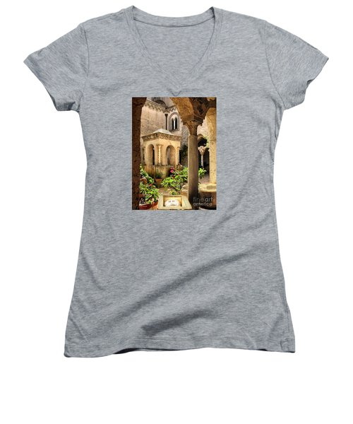 Villa Cimbrone. Ravello Women's V-Neck T-Shirt (Junior Cut) by Jennie Breeze