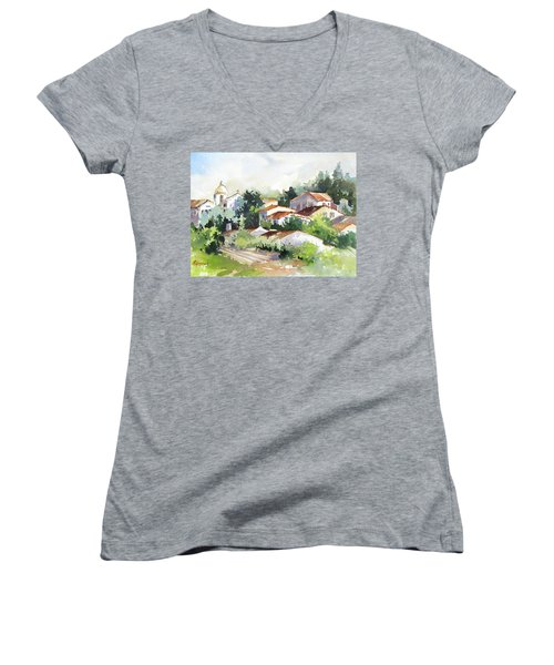 Village Life 5 Women's V-Neck T-Shirt (Junior Cut) by Rae Andrews