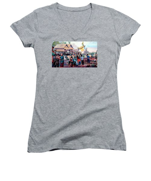 Village Rocket Festival-vintage Painting Women's V-Neck T-Shirt (Junior Cut) by Ian Gledhill