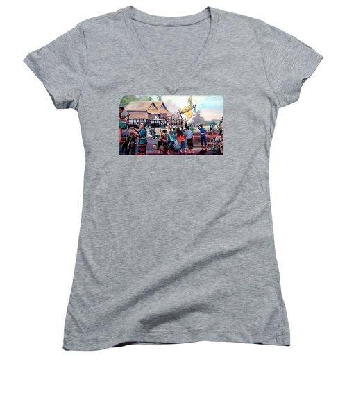 Village Rocket Festival-vintage Painting Women's V-Neck T-Shirt