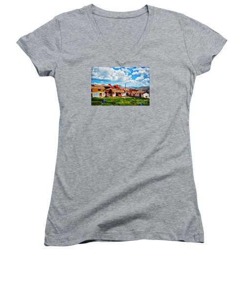 Village Up High In Peruvian Mountains Women's V-Neck T-Shirt