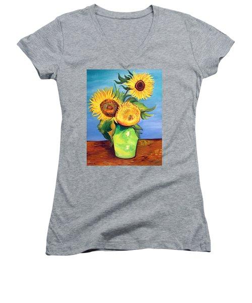 Vincent's Sunflowers Women's V-Neck T-Shirt (Junior Cut) by Patricia Piffath