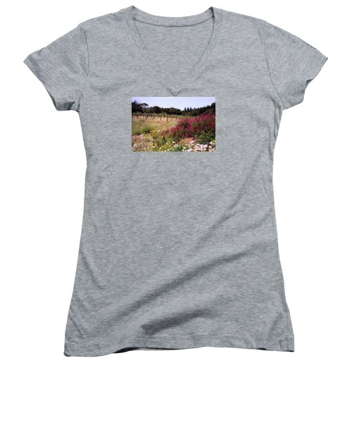 vines and flower SF peninsula Women's V-Neck T-Shirt