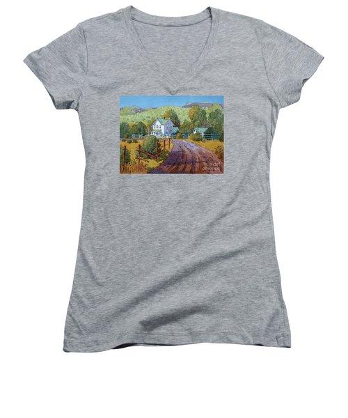 Vineyard Farm In Cambria Women's V-Neck T-Shirt