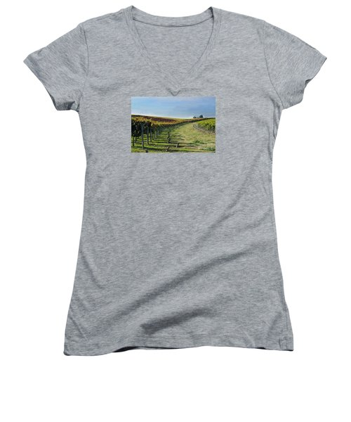 Women's V-Neck T-Shirt (Junior Cut) featuring the photograph Vineyard Shadows Livermore by Haleh Mahbod