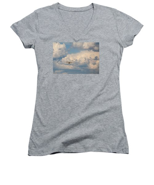 Women's V-Neck T-Shirt featuring the photograph Vintage Airplane by Fran Riley