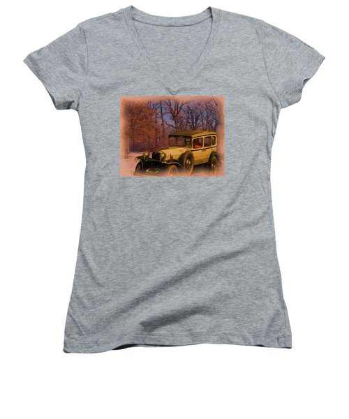 Vintage Auto In Winter Women's V-Neck