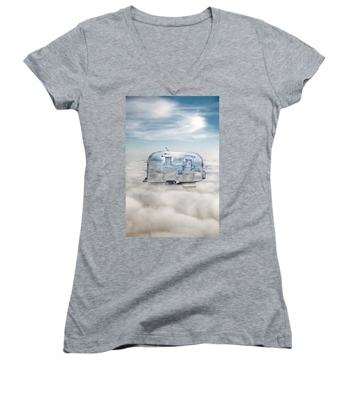 Vintage Camping Trailer In The Clouds Women's V-Neck T-Shirt