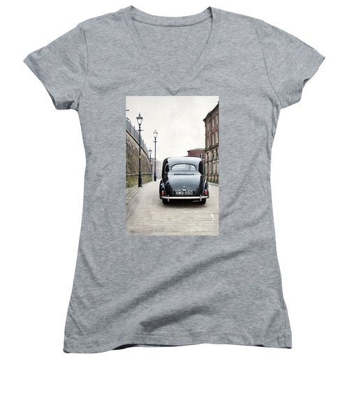 Vintage Car On A Cobbled Street Women's V-Neck T-Shirt (Junior Cut) by Lee Avison