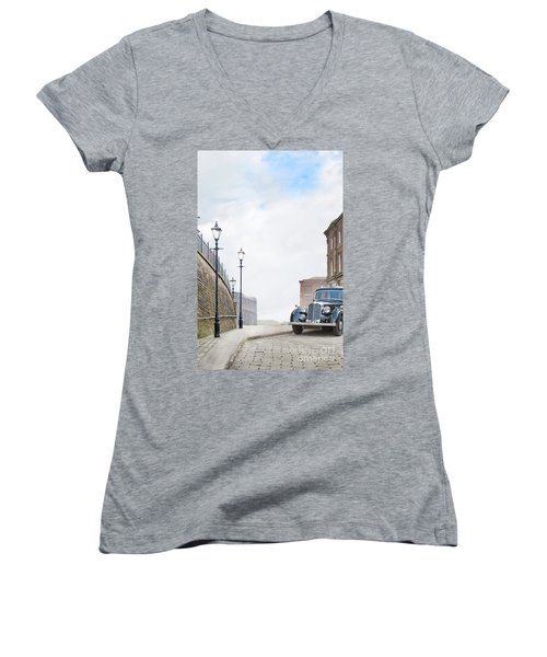 Vintage Car Parked On The Street Women's V-Neck T-Shirt (Junior Cut) by Lee Avison
