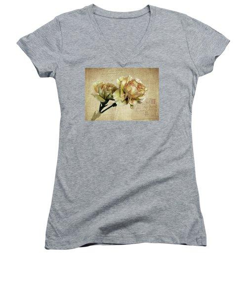 Vintage Carnations Women's V-Neck T-Shirt (Junior Cut) by Judy Vincent