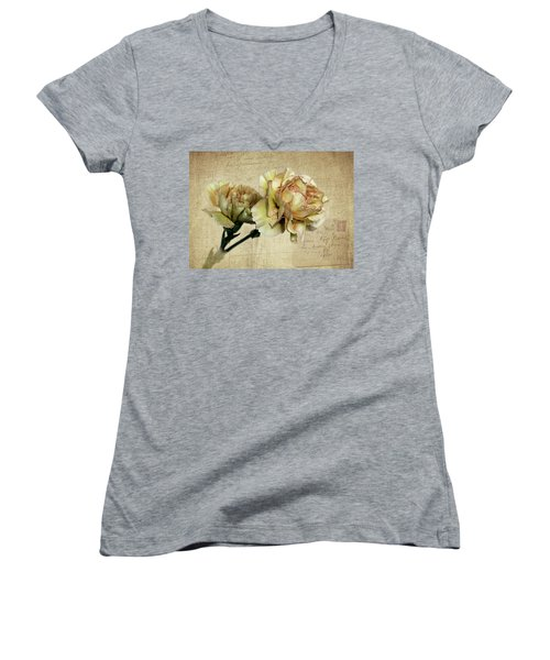 Vintage Carnations Women's V-Neck T-Shirt