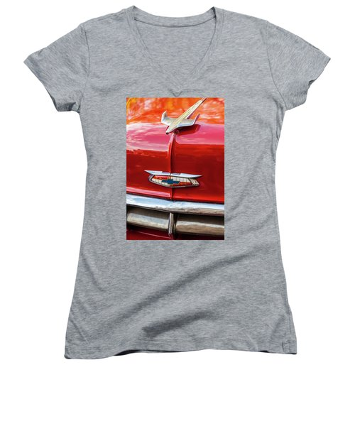 Women's V-Neck T-Shirt (Junior Cut) featuring the photograph Vintage Chevy Hood Ornament Havana Cuba by Charles Harden