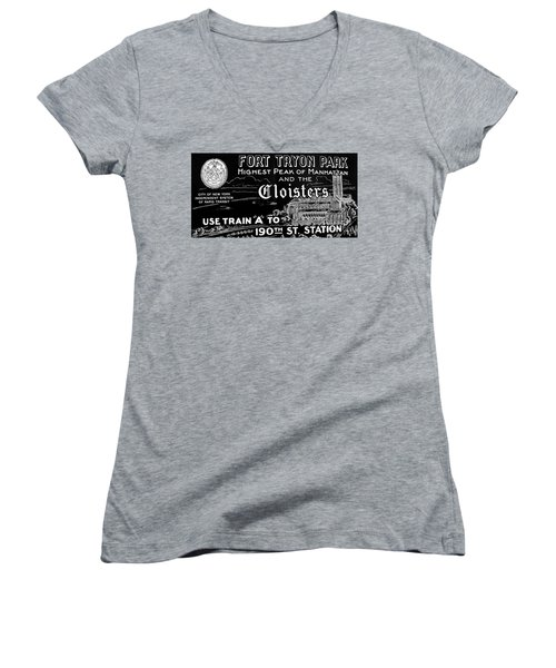 Vintage Cloisters And Fort Tryon Park Poster Women's V-Neck T-Shirt (Junior Cut) by Cole Thompson