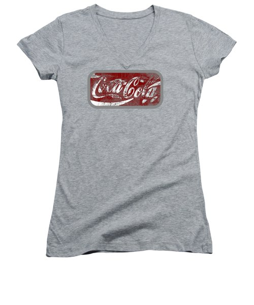 Coca Cola Red And White Sign Gray Border With Transparent Background Women's V-Neck T-Shirt