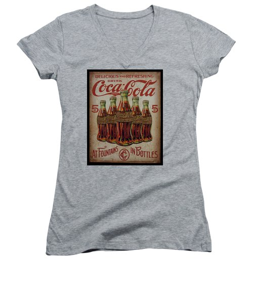 vintage Coca Cola sign Women's V-Neck