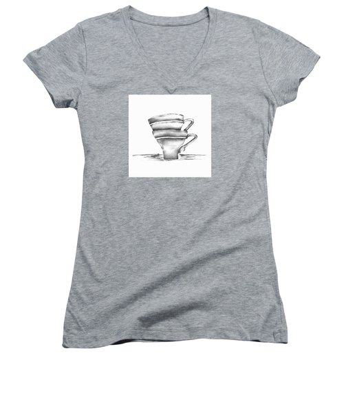 Vintage Cups Women's V-Neck T-Shirt (Junior Cut) by Brenda Bryant