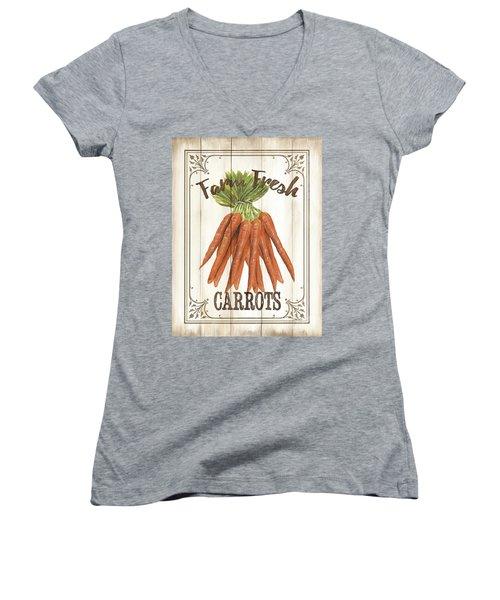 Women's V-Neck T-Shirt (Junior Cut) featuring the painting Vintage Fresh Vegetables 3 by Debbie DeWitt