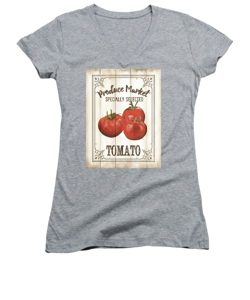 Women's V-Neck T-Shirt (Junior Cut) featuring the painting Vintage Fresh Vegetables 4 by Debbie DeWitt
