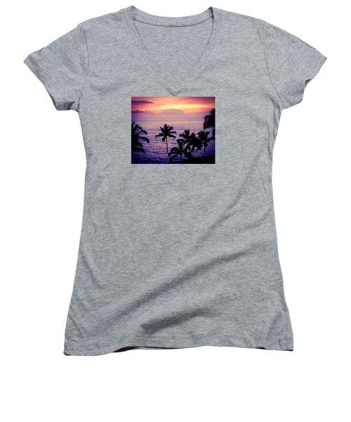 Vintage Hawaii Women's V-Neck T-Shirt (Junior Cut) by Russell Keating