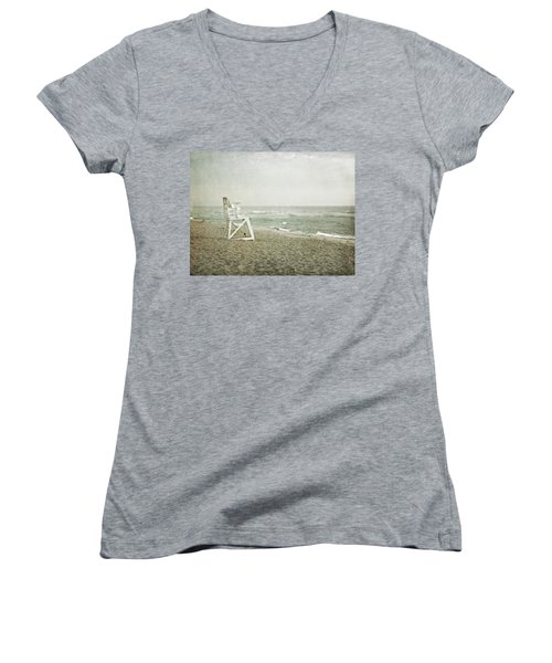 Vintage Inspired Beach With Lifeguard Chair Women's V-Neck T-Shirt (Junior Cut) by Brooke T Ryan