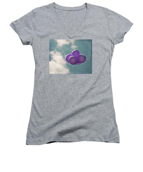 Vintage Inspired Purple Balloons In Blue Sky Women's V-Neck T-Shirt
