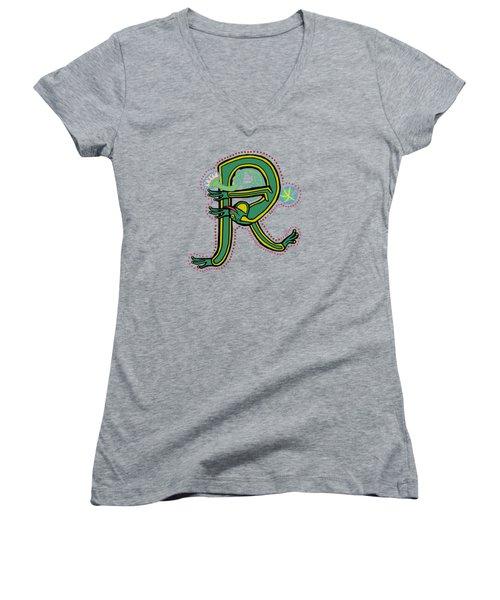 Vintage Letter R Frog Women's V-Neck (Athletic Fit)