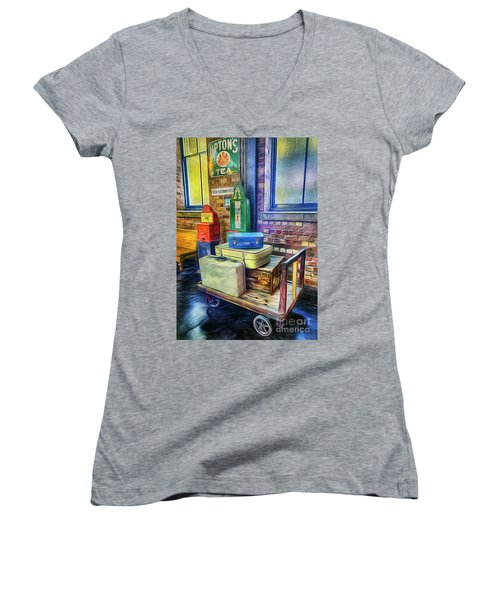 Vintage Luggage Women's V-Neck