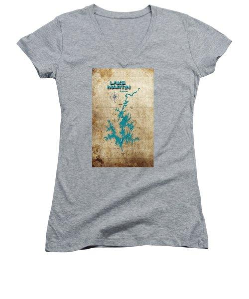 Vintage Map - Lake Martin Al Women's V-Neck (Athletic Fit)
