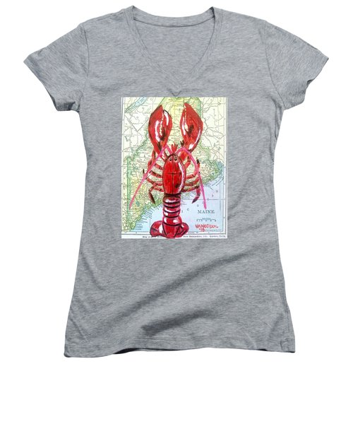 Vintage Map Maine Red Lobster Women's V-Neck T-Shirt (Junior Cut) by Scott D Van Osdol