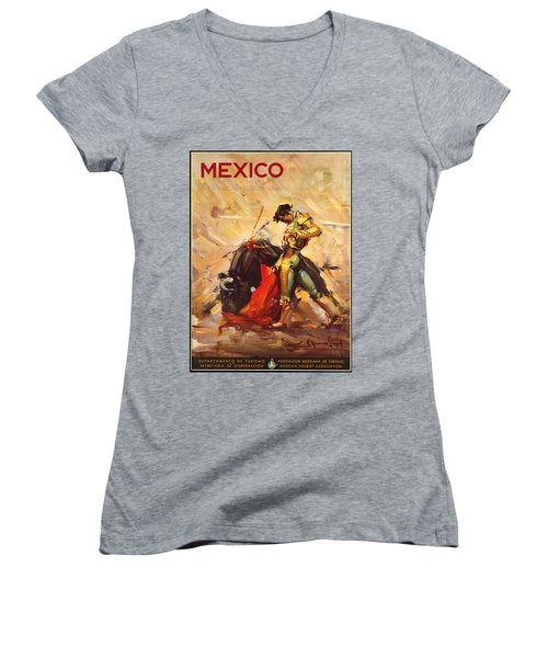 Vintage Mexico Bullfight Travel Poster Women's V-Neck T-Shirt